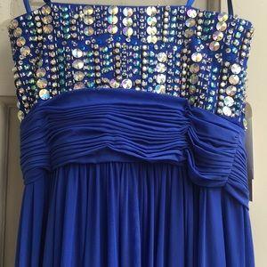 Anny Lee Dresses - royal blue rhinestone gown NWT